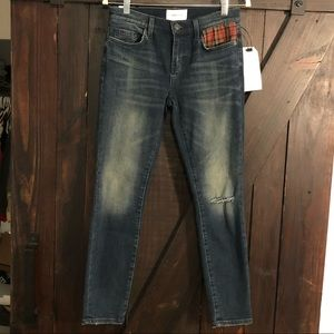 Current/Elliott Stiletto Jeans w/Plaid Detail